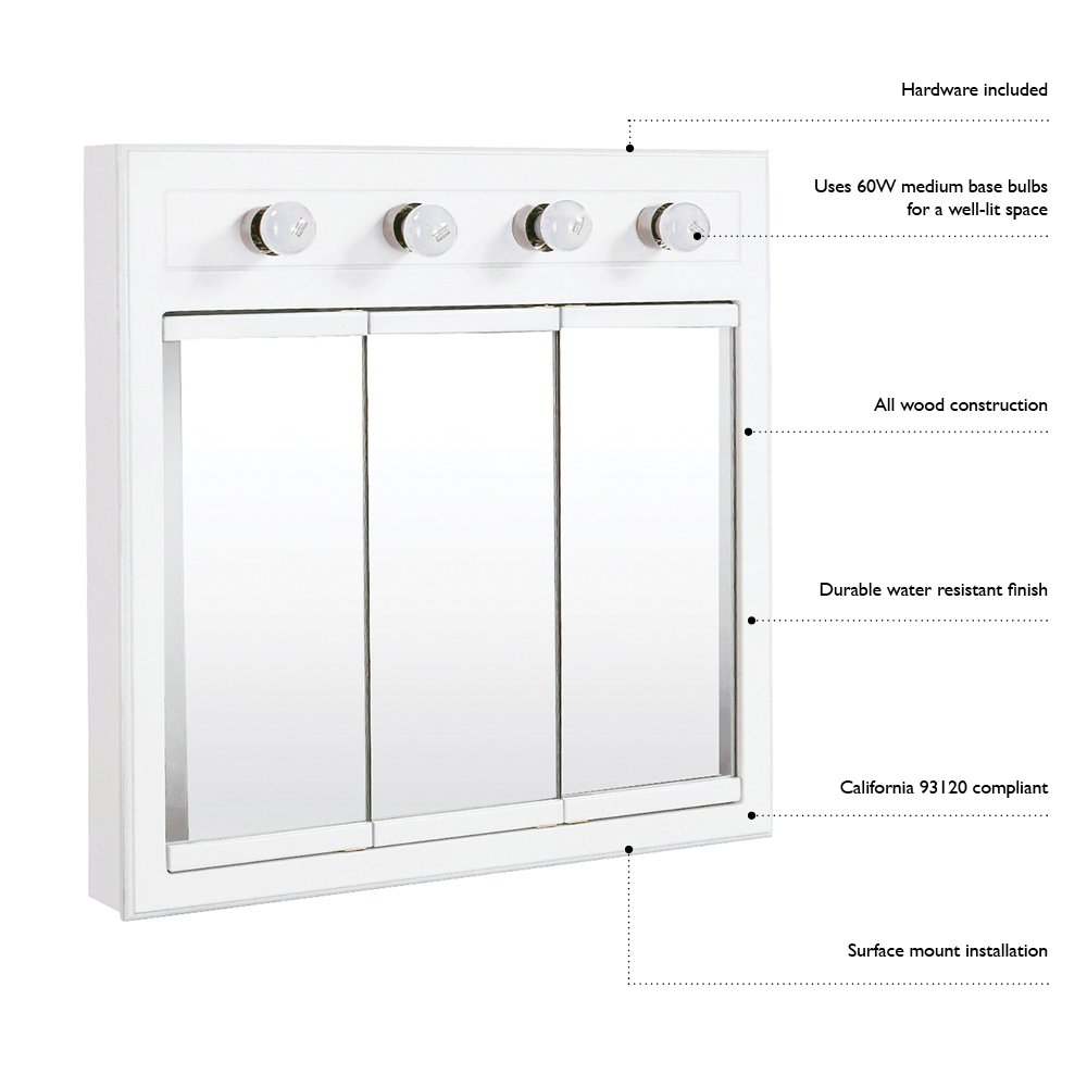Design House 532382 30-Inch Concord Ready-To-Assemble 4 Light Medicine Cabinet, White