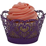 DZT1968 25PCS Filigree Little Vine Lace Wrapper Cut Cupcake Wrapper Liner Baking Cup Muffin Case Trays Wedding Birthday Party Decoration (Purple)