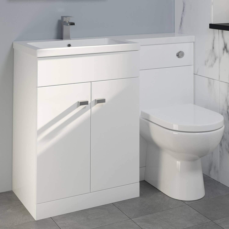 Aurora 1100mm Toilet Bathroom Vanity Unit Combined Basin Furniture Left Hand White