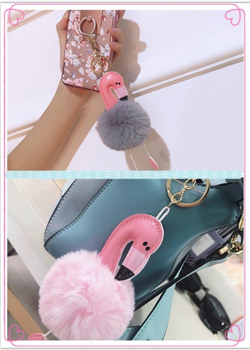 BIGBOBA Fashion Plush Flamingo Keyrings Fluffy Keyring Pendant Pom Pom Keyrings Handbag Car Decoration Pink