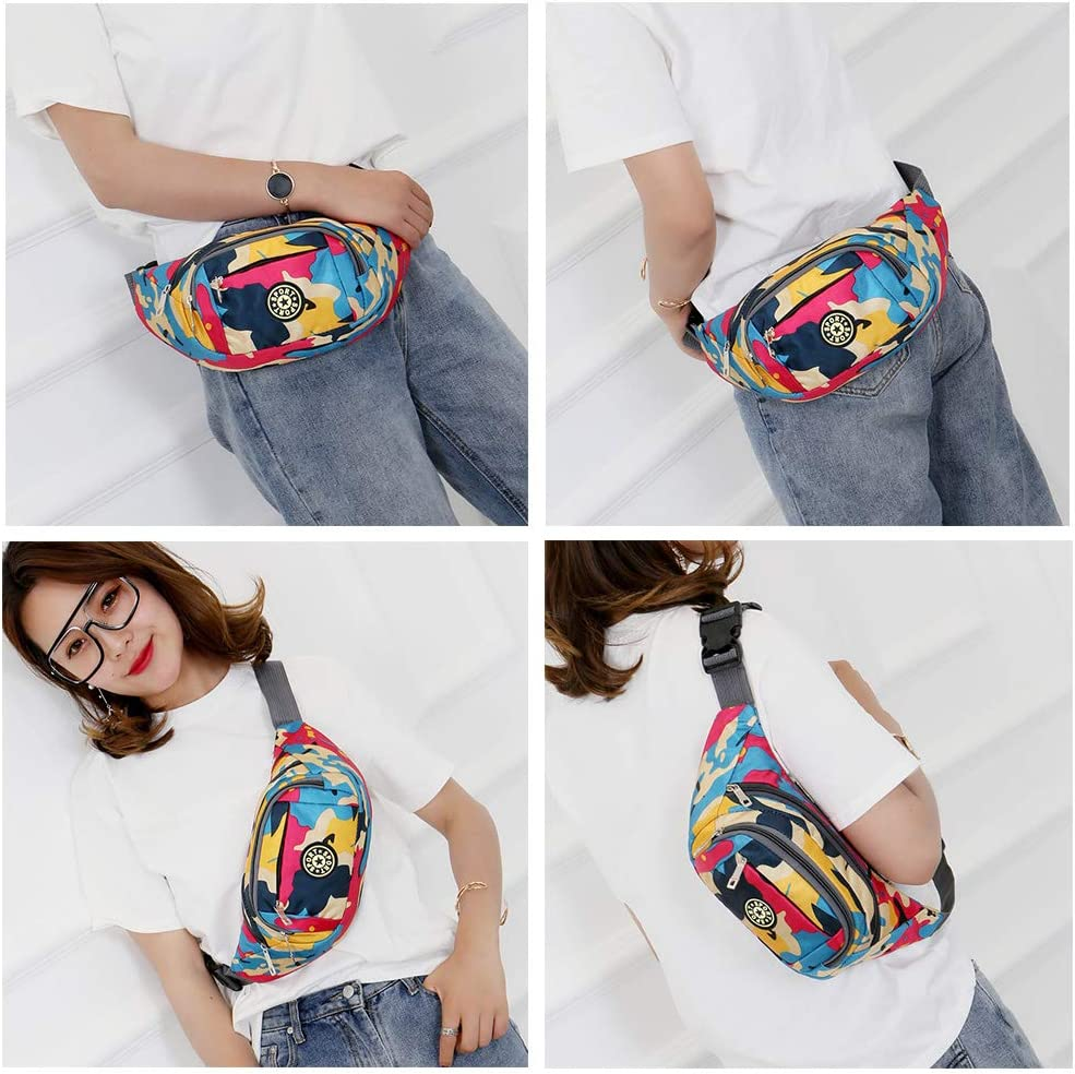 Fanny Pack Fashion Waist Chest Bag Adjustable Belt Chest Shoulder Pack Casual Bag Bum Bags Hip Pouch for Women Men Running Hiking Fitness Cycling Beach Travel Concert Festival