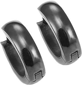Pendientes de aro negro para hombre del acero inoxidable de 10 mm ...