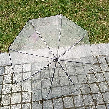 Transparent pour Femmes et Filles Blanc RQUEN Blanc - DPJGHI10EW Parapluie Automatique Pliable avec Bouton
