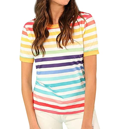 5e01ba3d62a Womens Tops Summer Short Sleeve Color Striped Blouse Casual Round Neck T  Shirt at Amazon Women's Clothing store: