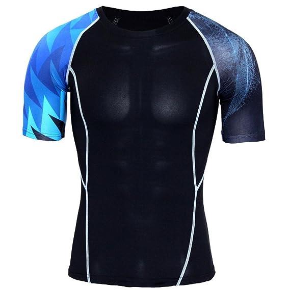 Hombres Apretados Músculo Ropa Entrenamiento Leggings Gimnasio Deportes Gimnasio Corriendo Yoga Athletic Shirt Top Blusa,