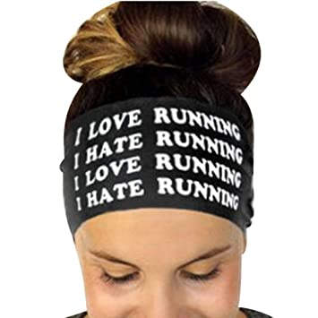 Felicy Women Ladies Letter Sports Yoga Sweatband Turban Gym Stretch Wraps  Headband Hair Band Wide Headbands for Men and Women Athletic Moisture  Wicking ... 57f39f83b5