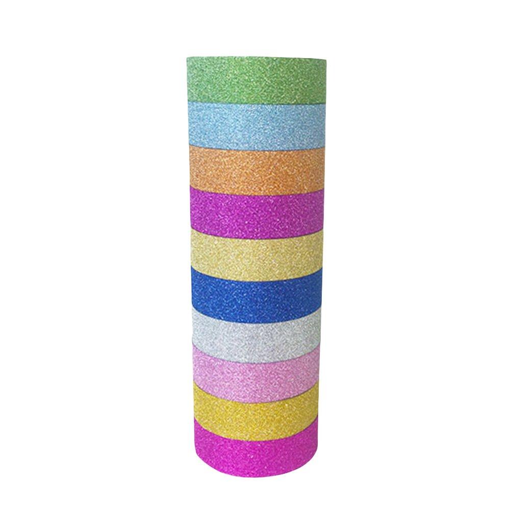 NUOLUX 10PCS Glitter Washi Tape Set Solid Color Decorative DIY Tape Kit for Arts Crafts - Random Color
