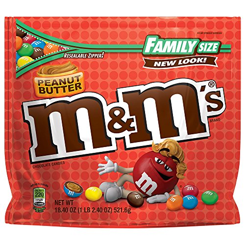 M&M'S Peanut Butter Chocolate Candy Family Size 18.4-Ounce Bag (Pack of 8) ()