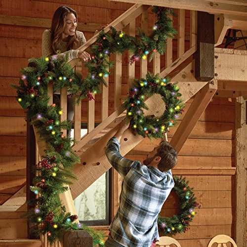 Cordless Pre-lit Cone & Berry Christmas Wreath by Brookstone (Image #2)