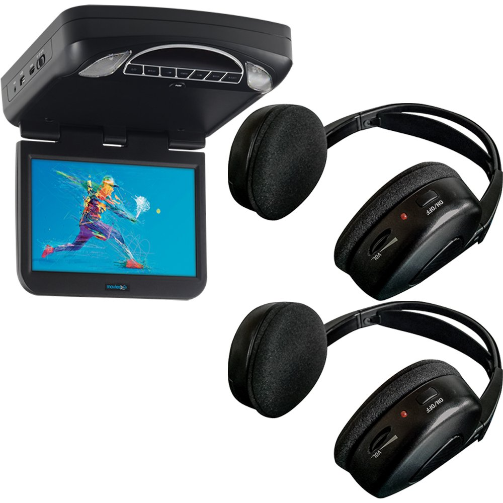Audiovox 10.1'' Digital High Def Overhead Monitor System with DVD, HDMI/MHL Input Adapter & 2 Wireless Headphones Included