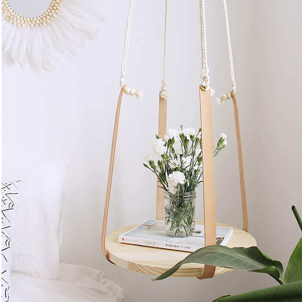 Shelf Hanging Small Table, Floating with Leather Rope, Round, Hanging A Few Flower Pot Lanyard, Macrame Plant Hanger Hanging Planter