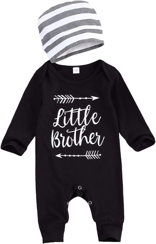 "Newborn Baby Boys /""LITTLE BROTHER/"" Romper Outfits Infant Jumpsuit Bodysuit Set"