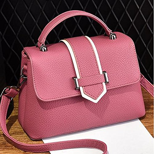 DIMAOL Brown Pink All Black Season Career Khaki Buttons Women Blushing for PU Bags Gray Zipper Blushing Casual Office Tote Polyester Pink amp; Red r7rRZUOqw