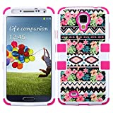 JoJoGoldStar® Samsung Galaxy S4 Case, TUFF IM Hybrid, Slim Fit Heavy Duty Shockproof Plastic & Silicone TPU Hard Cover + Stylus and Screen Protector (Hawaiian Tribal / Pink)