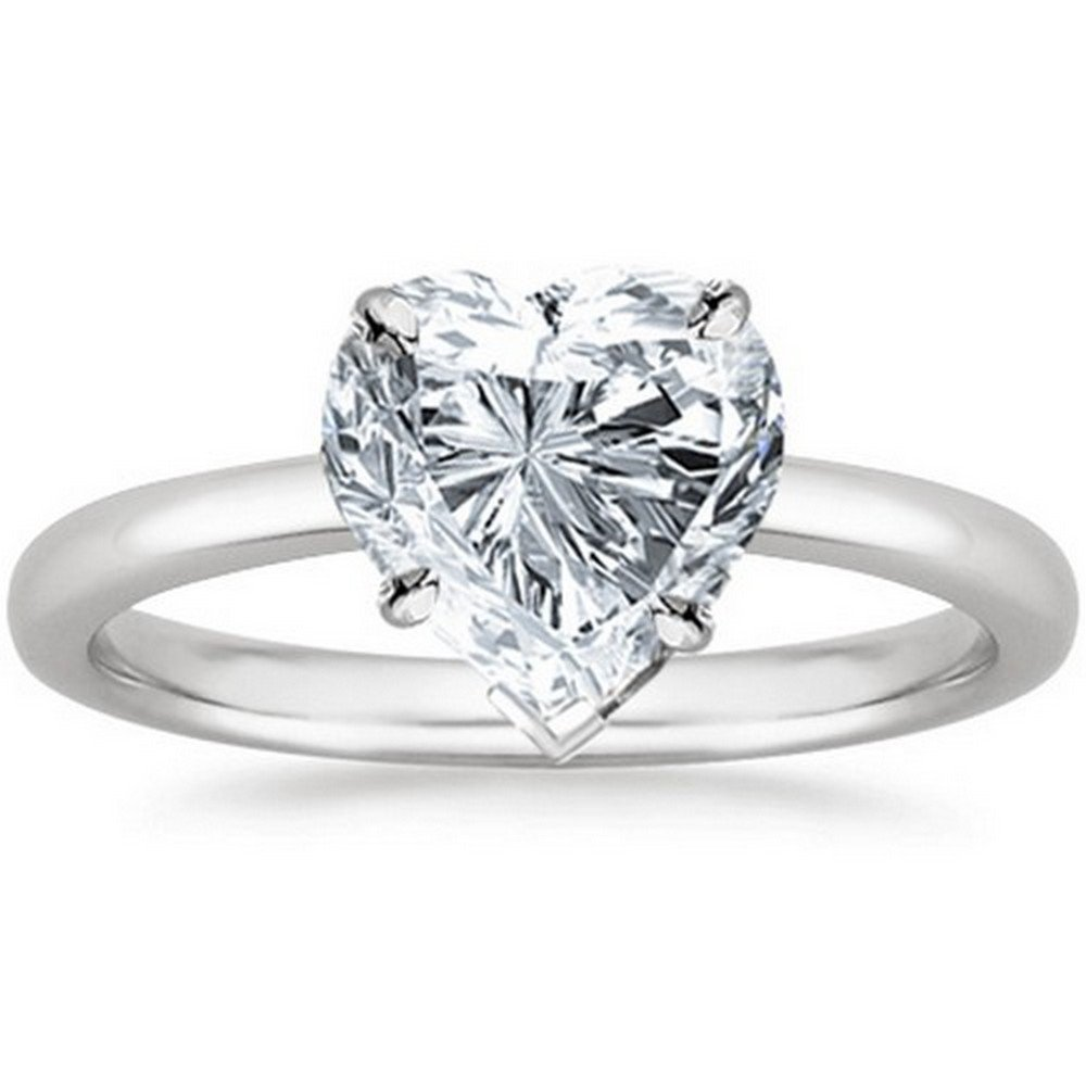 GIA Certified 14K White Gold Heart Cut Solitaire Diamond Engagement Ring (1 Carat G Color SI2 Clarity)