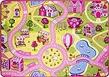 Funfair Pink Colourful Kids Girls Town City Roads Childrens Floor Play Area Rug Mat 95cm x 133cm