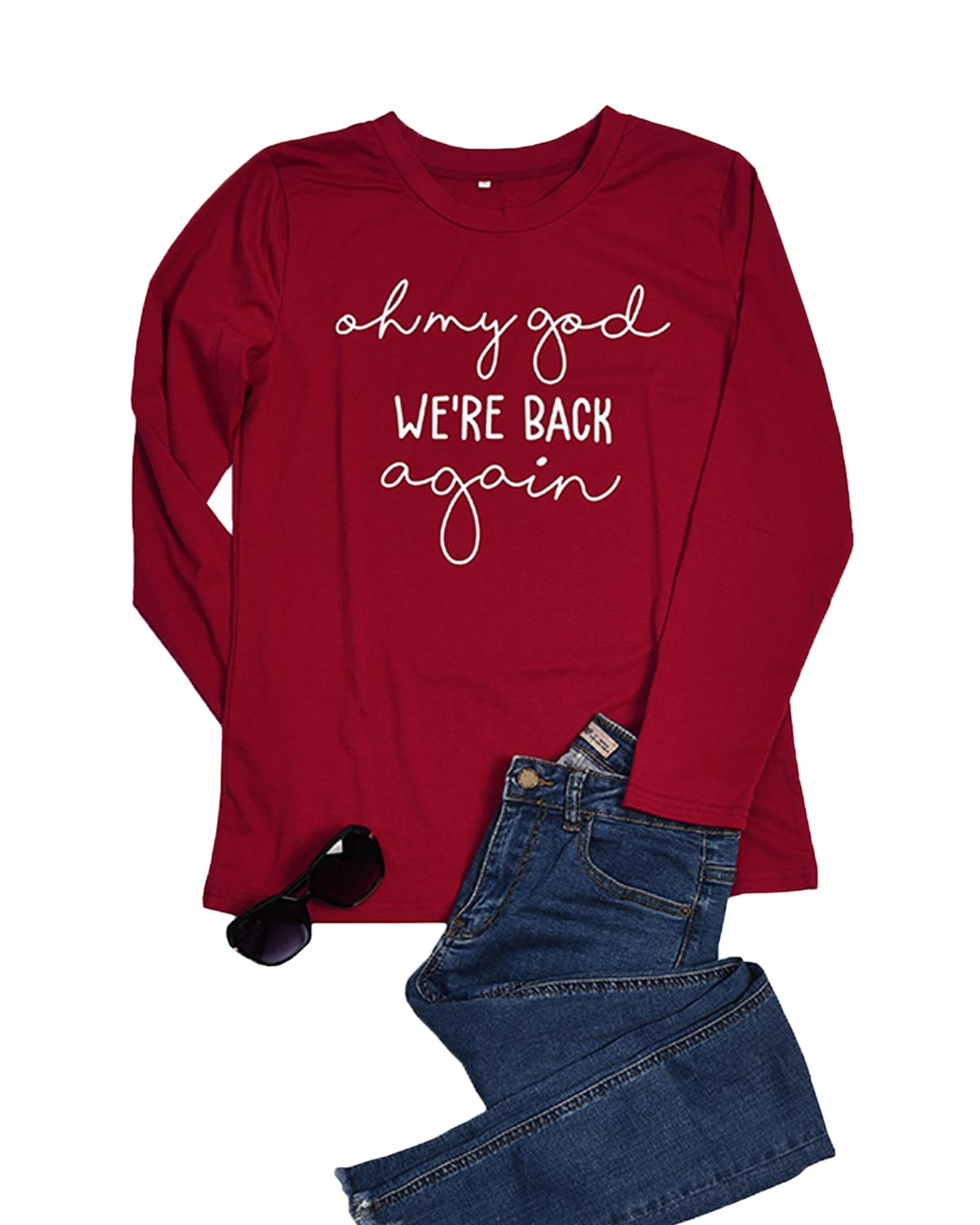 LeMarnia Basic Tees for Women, Ladies Round Neck Long Sleeve Oh My God We're Back Again Shirts Graphic Letter Print Funny Cute Tops Casual Wear Wine-2 L