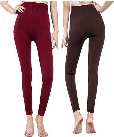 Yulaixuan 2 Pares de Medias de algodón Opacas para Mujer 120D Pantalones de Cintura Alta sin piernas Leggings sin Costura (Vino Tinto y café): Amazon.es: Ropa y accesorios