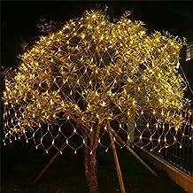 FFJTS Outdoor 8 Modes Effect Droplets Multi Function Xmas Tree Decoration Net light Festival Super Bright Fairy Net light?Yellow? , 1.5*1.5