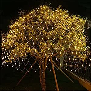 FFJTS Outdoor 8 Modes Effect Droplets Multi Function Xmas Tree Decoration Net light Festival Super Bright Fairy Net light?Yellow? , 810