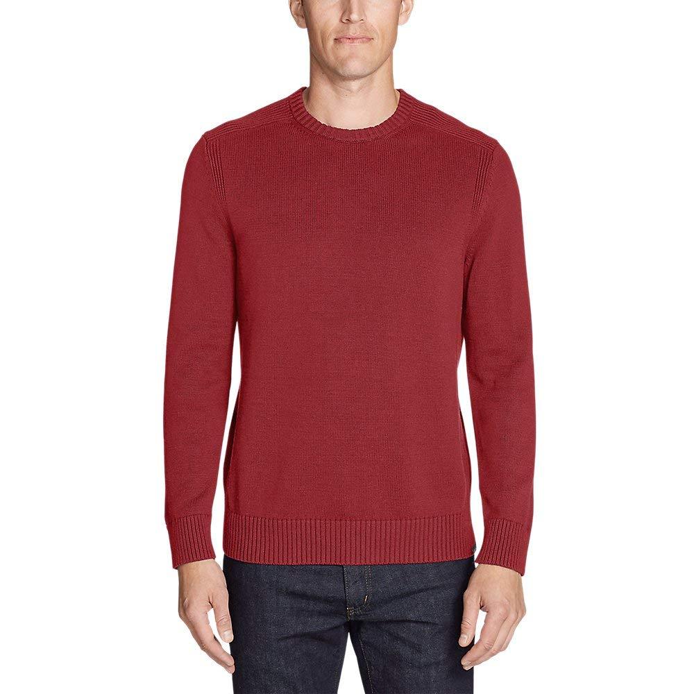 Eddie Bauerメンズ署名コットンクルーセーター 赤 Clay (赤) L Regular