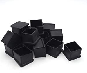 "Antrader Rubber PVC Flexible Square End Cap 1-1/5"" Furniture Foot Cover Protectors 16 Pcs Black"
