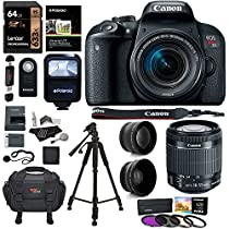 Canon EOS Rebel T7i Camera, EF-S 18-55 IS STM Lens Kit, Lexar 64GB, Ritz Gear Premium SLR Camera Bag, Polaroid Filter Kit, Flash and Accessory Bundle
