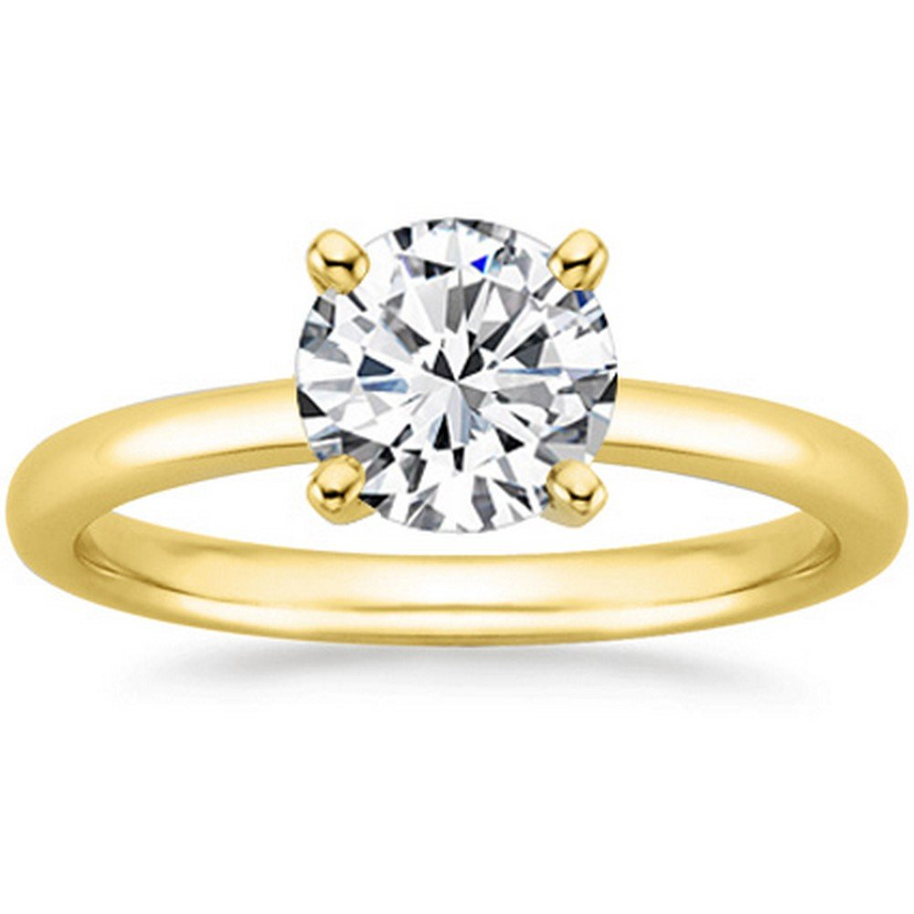 0.75 3/4 Ct GIA Certified Round Cut 4 Prong Solitaire Diamond Engagement Ring 14K Yellow Gold (E Color VS2 Clarity)