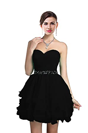 045b5f97a7f ThaliaDress Sweetheart Rhinestone Short Party Homecoming Dresses Prom Gowns  T021LF Black US2