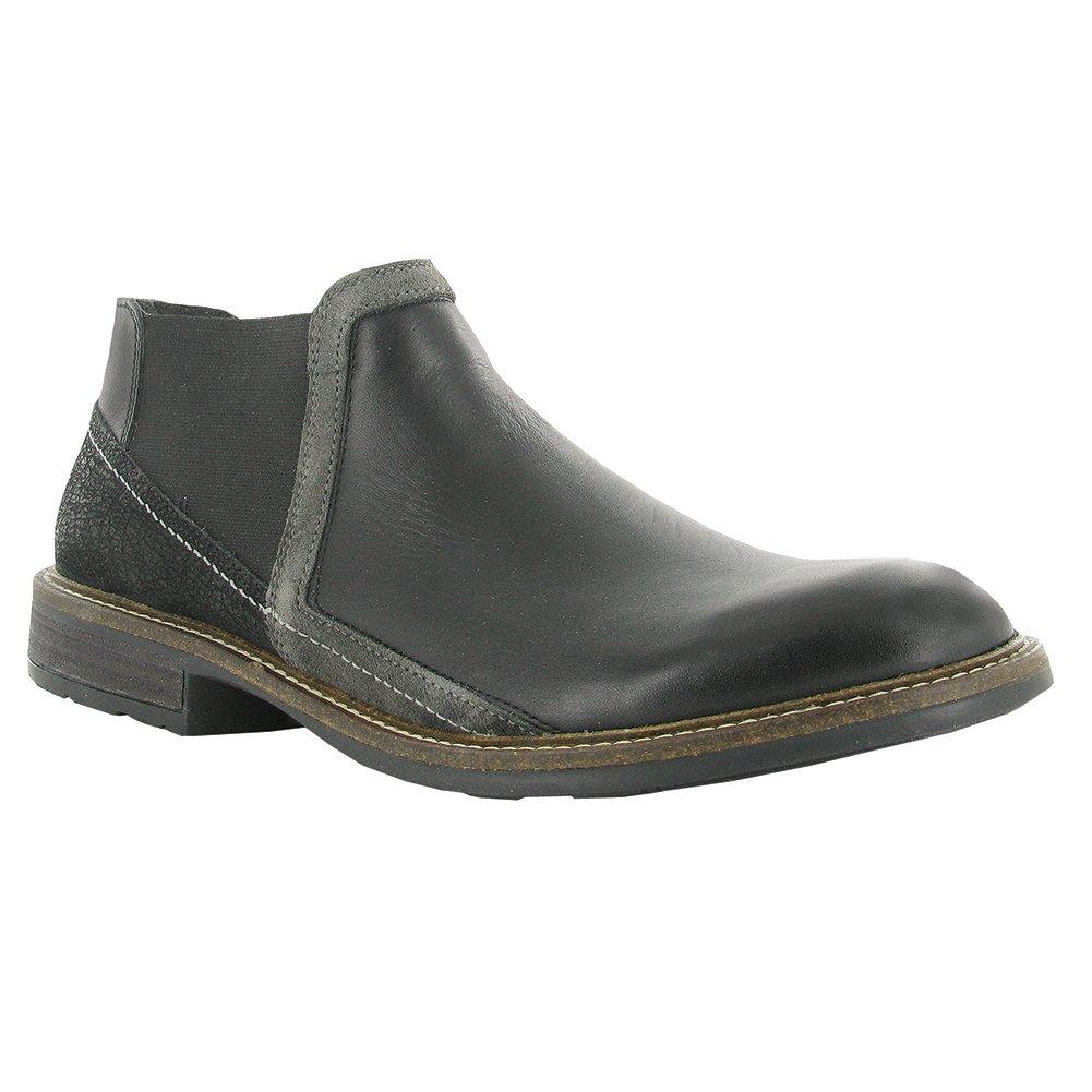NAOT Business Executive Men Flats Shoes, Blk Raven/Blk Crackle/Gry Sued,Size - 45