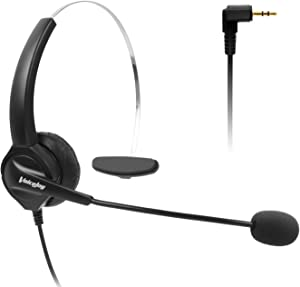 2.5mm Telephone Headset Monaural with Noise Canceling Mic for Cisco Linksys SPA Grandstream Polycom Panasonic Zultys Siemens Gigaset Uniden AT&T Office IP and Cordless Dect Phones