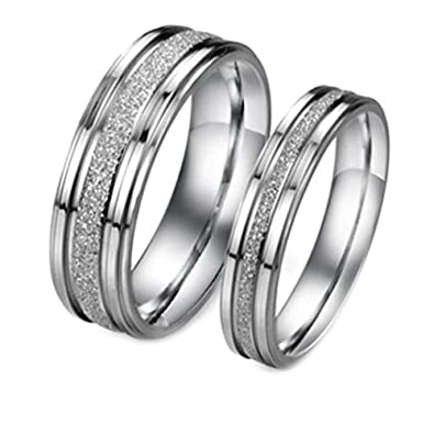 3edcd4a29c Geminis Fashion Jewelry Silver Frosted Surface Central and Grooves  Stainless Steel Promise Couple Ring--