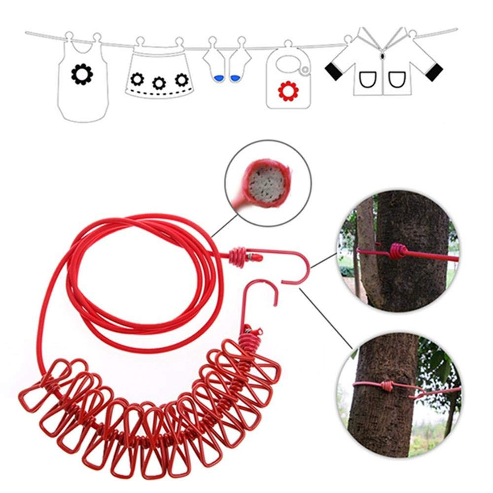 forviupet Corde /à v/êtements /élastique Pliable avec 12 Pinces de Serrage Clips Crochets Outils dext/érieur pour Camping