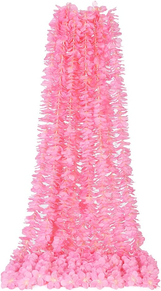 LUSHIDI 32.8Ft Artificial Silk Wisteria Vine Hanging Flowers Garland Home Outdoor Wedding Arch Garden Wall Decor,Pack of 10(Hot Pink)