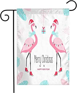 Anmbsk Garden Flag Welcome Flag mas Palm Christmas Design Merry Happy Flamingo Tropic Abstract Pink Bird Invitation Textures with 12x18 Inch Yard Flag Farmhouse Spring Summer Home House Lawn Decor