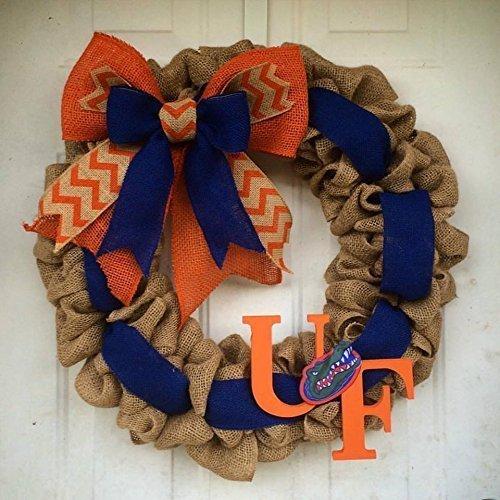 Burlap Gator Wreath Florida Gators UF Football Orange and Blue Door Decor Door hanger Christmas Gift