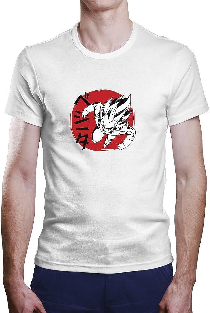 Camiseta Vegeta. Una Camiseta de Hombre con Vegeta de Dragon Ball. Camiseta Friki de Color Blanca: Amazon.es: Ropa y accesorios