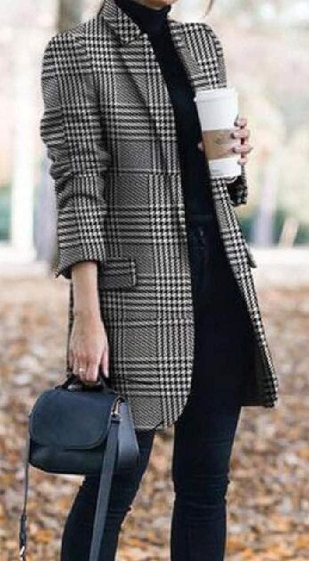 Jotebriyo Womens Blazer Jacket Plaid Check Long Trench Coat Overcoat Business Suit Coat
