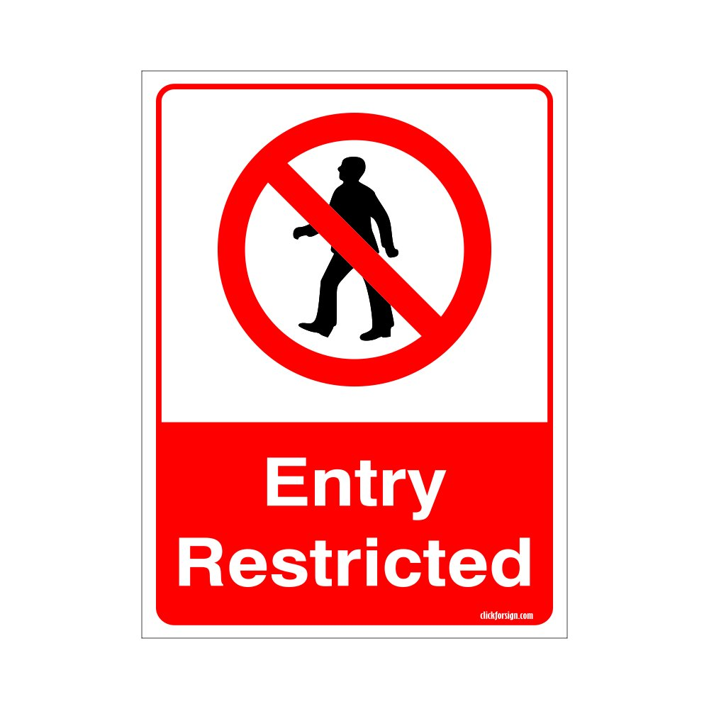 Clickforsign entry restricted sign self adhesive vinyl sticker 200 x 150 mm amazon in amazon in