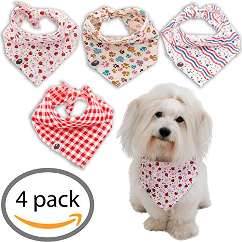 a 4 Pack. Beautiful and Soft Dog Bandanas for Dogs, Cats and Other Pets. ()