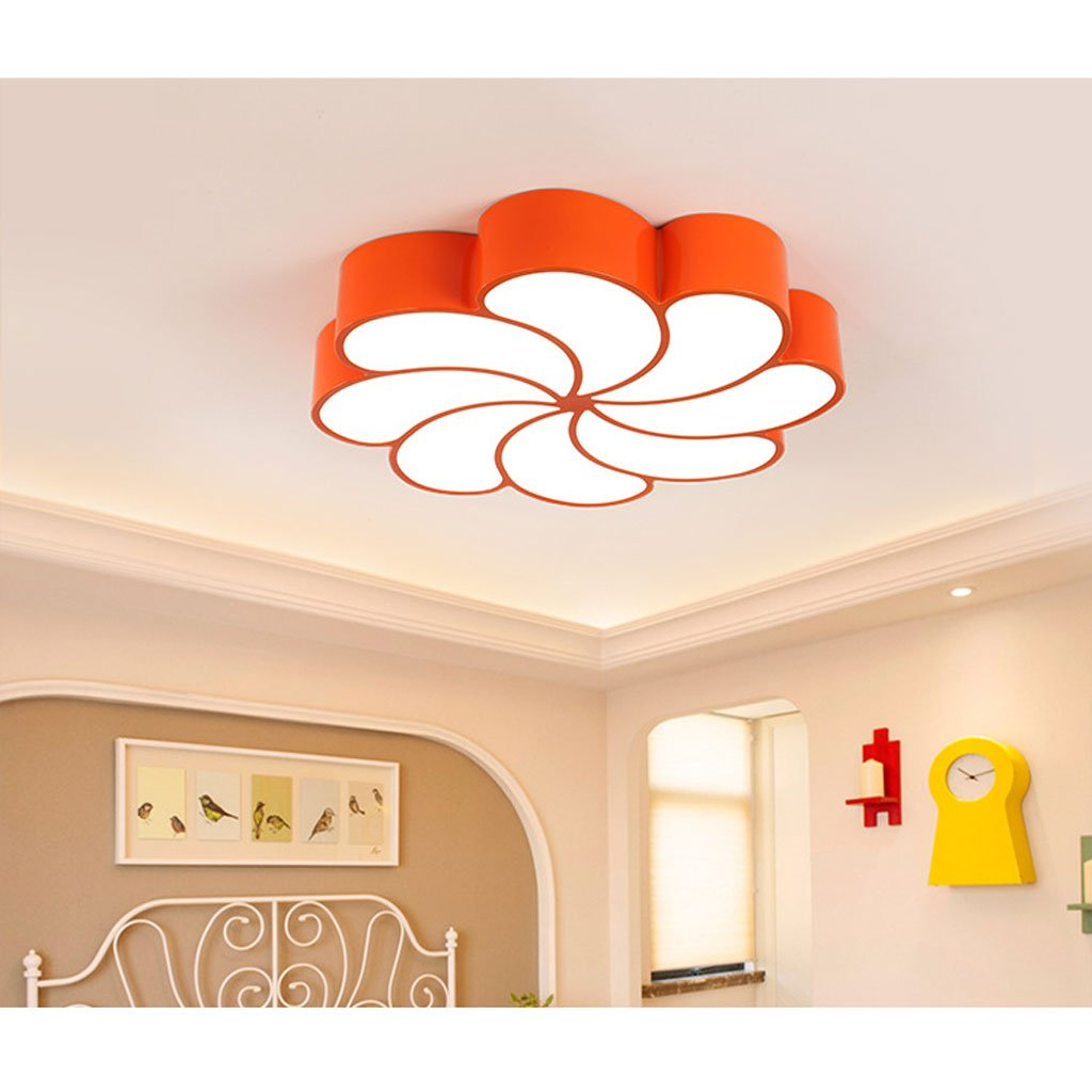 Ceiling light Children's room led color Cartoon Flowers kindergarten Early classroom Creative Eye protection ( Color : Orange , Size : C(with remote control) )
