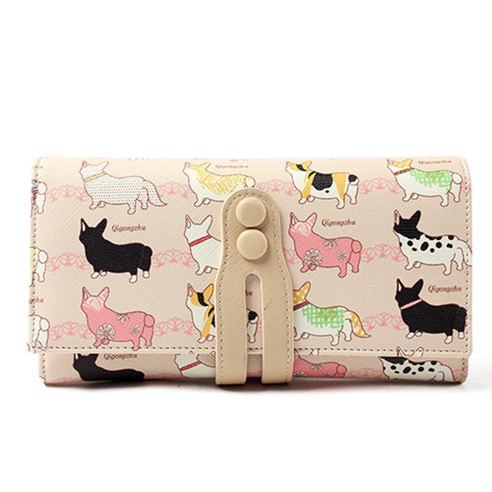 Nawoshow Women Cute Cartoon Printing Animal Dog Wallet Long Design Coin Purse Clutch Bag BAO0063CA