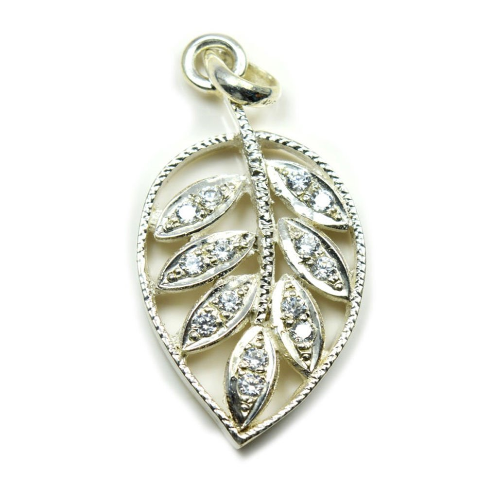Jewelryonclick White Cubic Zircon Leaf Style Round Cut Sterling Silver Pendant for Gift Handmade Jewelry