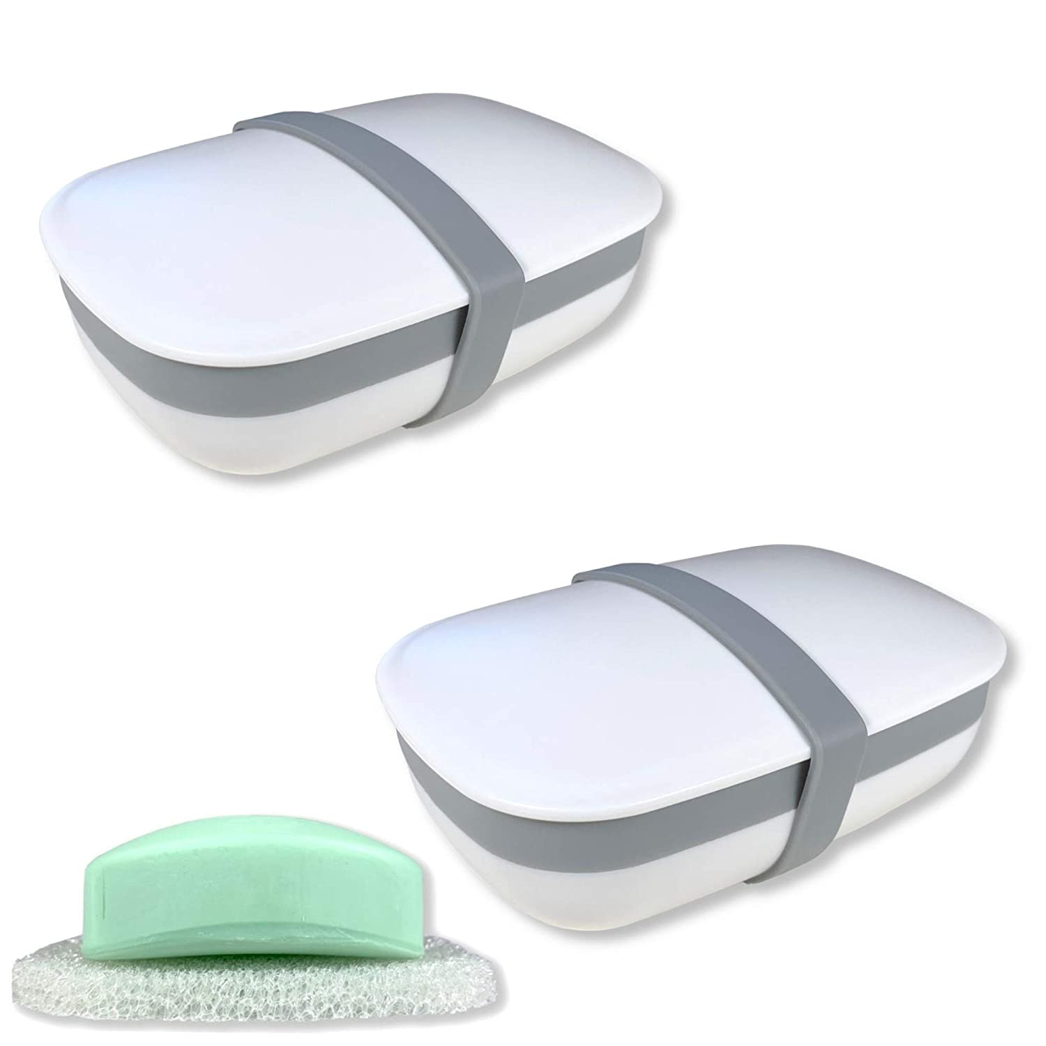 Travel Soap Box Soap Bar Holder Dish Container Case With Sponge Saver Drain  Si