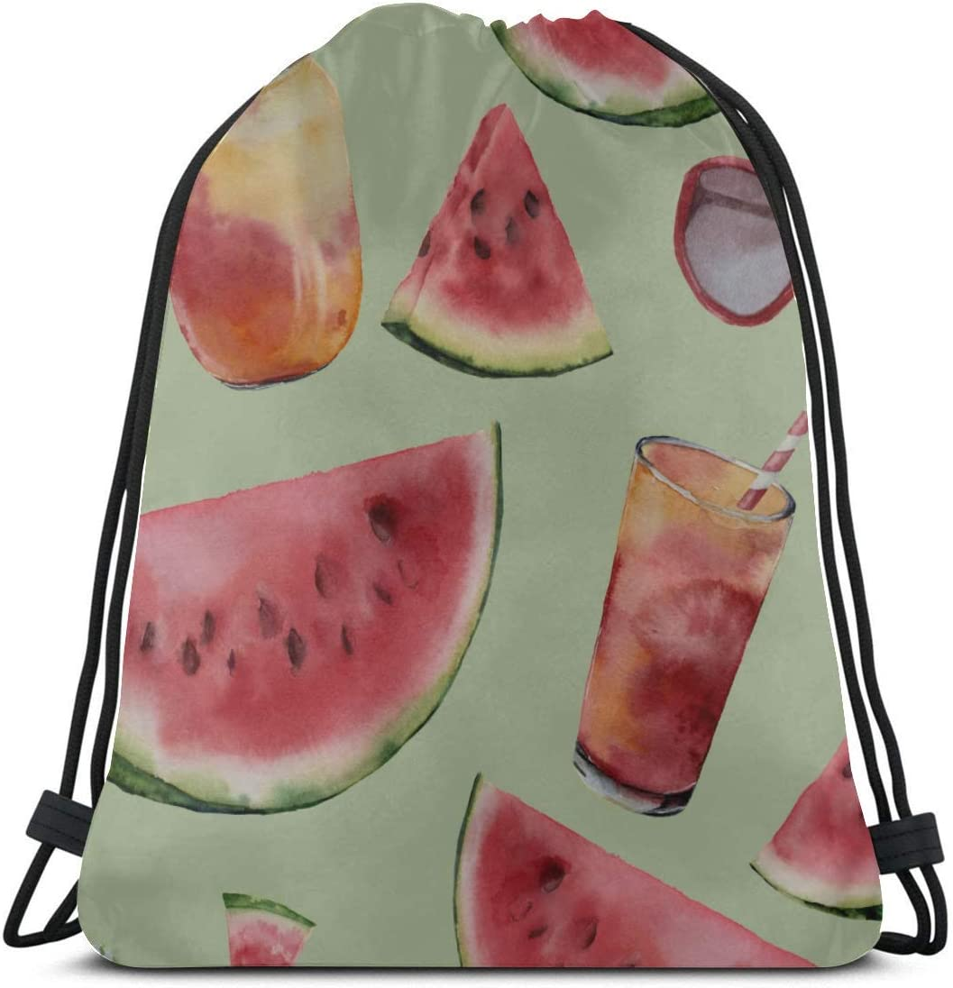 Unisex Single-sided Printing Summer Sweet Cool Watermelon Juice Ladies Drawstring Bag Polyester Gym Drawstring Bag For Women Drawstring Gym Bag For Girls For Gym Outdoor Travel