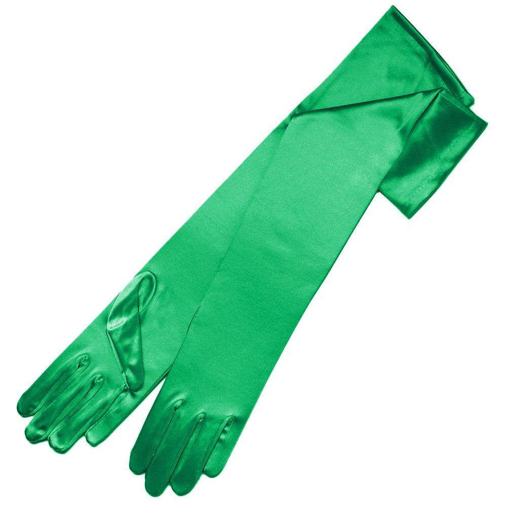 ZaZa Bridal 19.5'' Long Shiny Stretch Satin Dress Gloves 12BL-Kelly Green