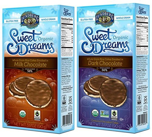 - Lundberg Organic Gluten-Free Sweet Dreams Chocolate Rice Cakes 2 Flavor Variety Bundle: (1) Sweet Dreams Milk Chocolate Rice Cakes, & (1) Sweet Dreams Dark Chocolate Rice Cakes, 3.17 Oz Ea (2 Boxes)