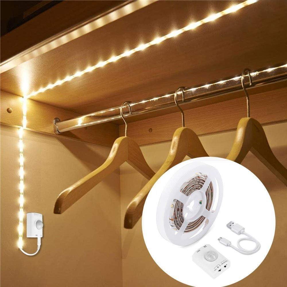 Luz Armario LED con Sensor de Movimiento, OriFiil 1M 30LED Tira Luz Cuerda USB Recargable Pilas Luz de Noche con 3 Modos y temporizador,para Pasillo, Escalera, Sótano, Cocina, Garaje, Gabinete y Baño