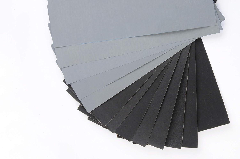 4 Feuilles//Grain 56 PCS Papier abrasif Humide et Sec 9 x 3,6 Pouces Papier /à Poncer 120 /à 5000 Grain KZKR Papier de Verre Set