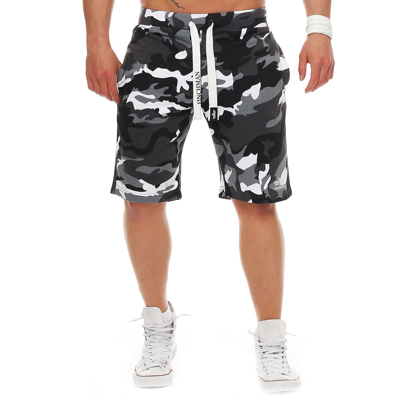 544f9a6e6a6ba Finchman Pantalones Cortos Deportivos de algodón para Hombres Bermuda  Sweatpant product image